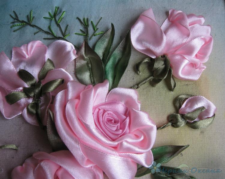 Вышивка лентами розы-мастер класс 83