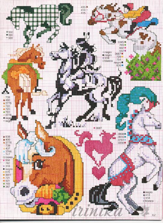 Детям лошадки схемы вышивки