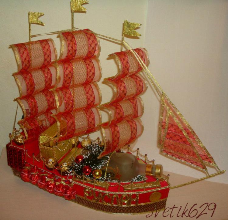 Корабль своими руками из конфет на свадьбу