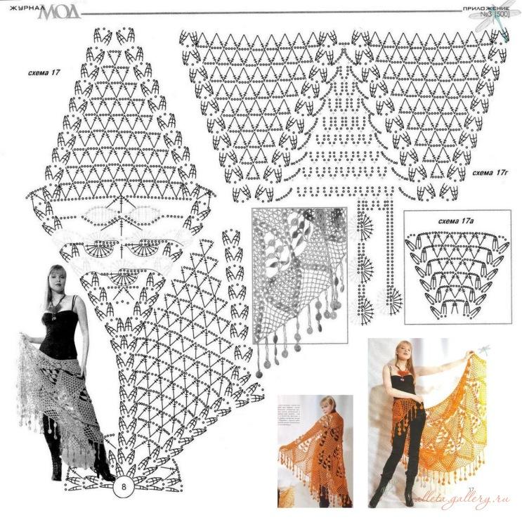 Вязание крючком схемы и модели шали видео
