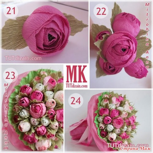 Цветы из гофрированной бумаги с конфеткой