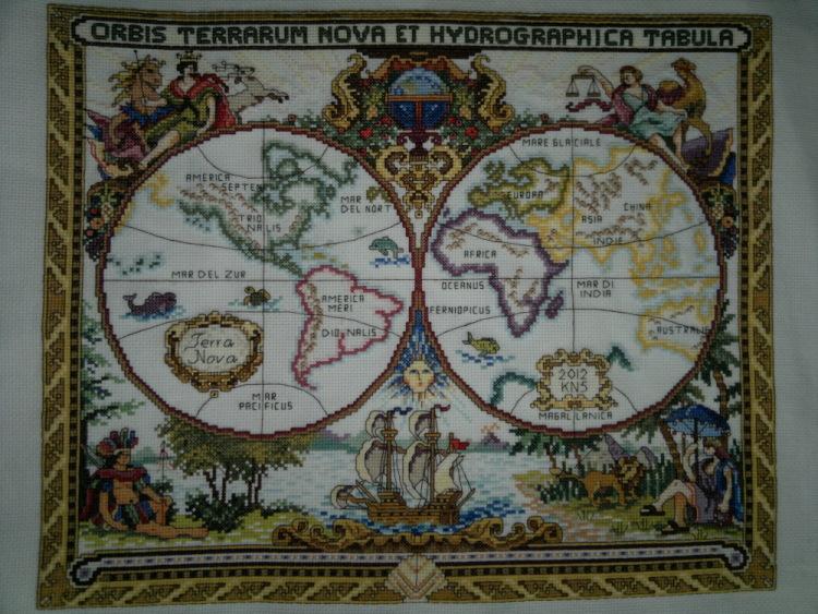 Вышивка карта старого мира - оригами из бумаги. красивые цве.