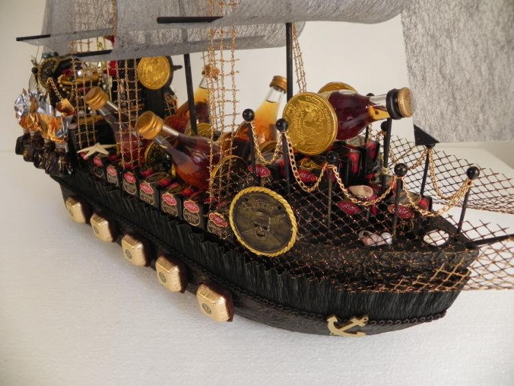 Пиратский корабль из конфет пошаговое фото для начинающих