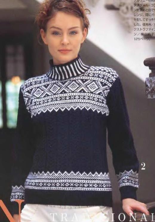 Вязание свитера жаккардовым узором