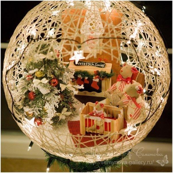 Поделки на новый год шарик из ниток