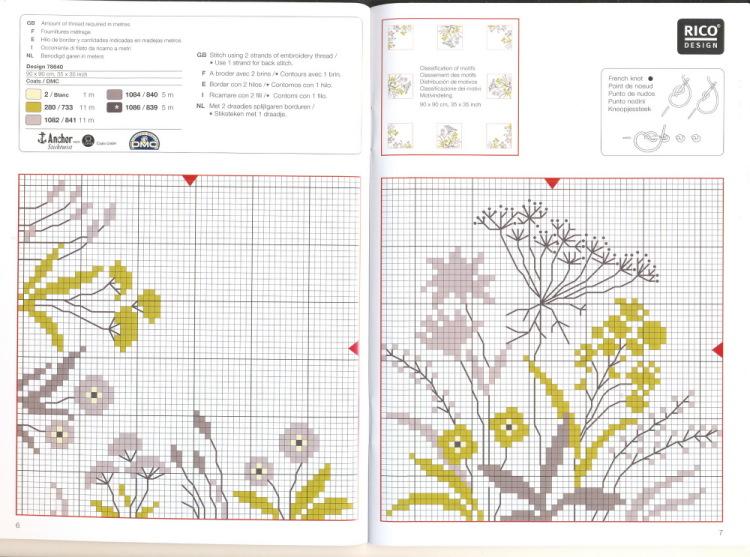 Схема вышивки луговых трав