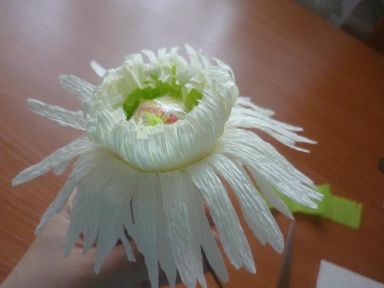 Хризантема из гофрированной бумаги пошагово