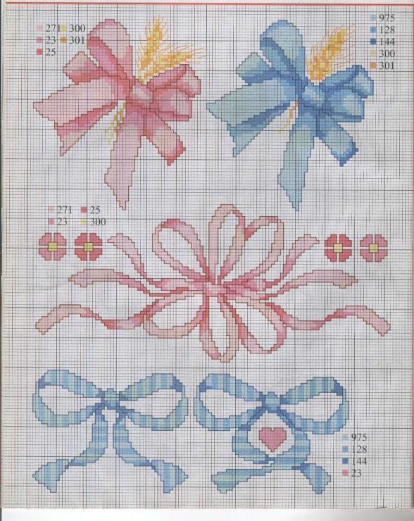 Вышивка крестом девочка с бантиками 48