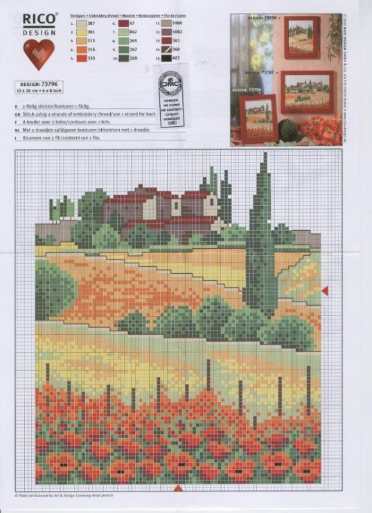 Тоскана италия схема вышивки-миниатюры