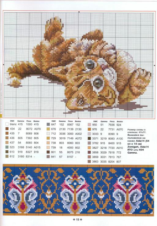 Схема вышивки подушка котенок и