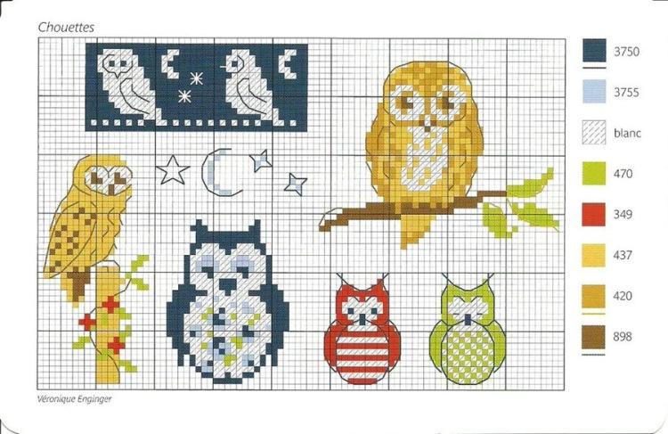 Простая схема вышивки совы 32