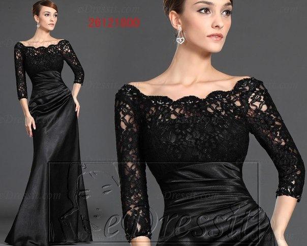 Платье с кружевом длинное